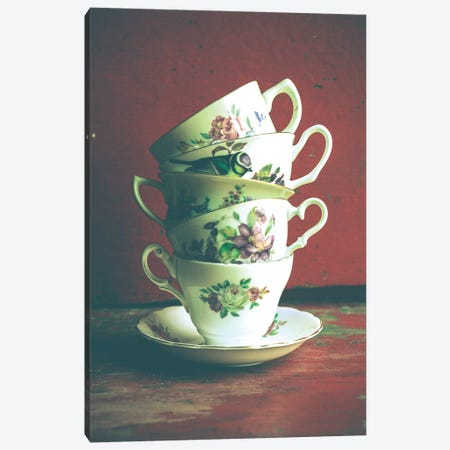 Vintage Tea Cups Canvas Print #OJS47} by Olivia Joy StClaire Canvas Wall Art