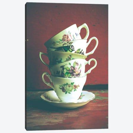 Vintage Tea Cups 3-Piece Canvas #OJS47} by Olivia Joy StClaire Canvas Wall Art