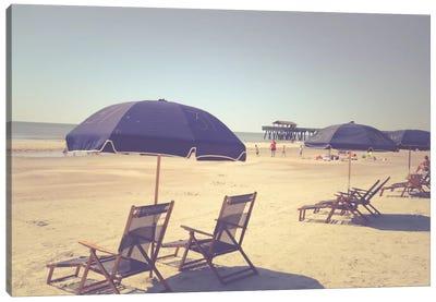Blue Beach Umbrellas Canvas Print #OJS53
