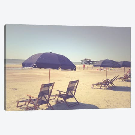 Blue Beach Umbrellas Canvas Print #OJS53} by Olivia Joy StClaire Canvas Wall Art