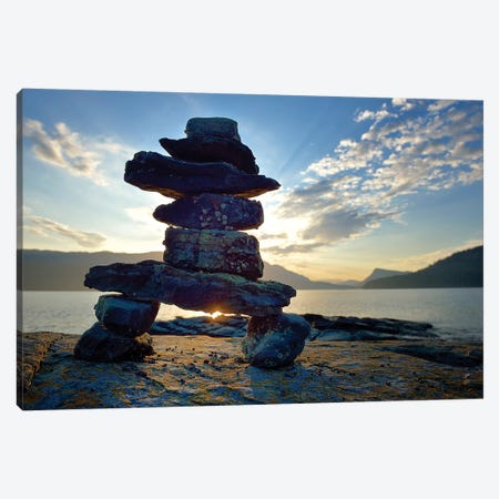 Canada, British Columbia, Russell Island. Rock Inukshuk in front of Salt Spring Island. Canvas Print #OKE1} by Kevin Oke Art Print