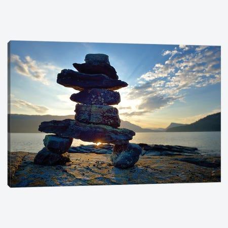 Canada, British Columbia, Russell Island. Rock Inukshuk in front of Salt Spring Island. Canvas Print #OKE1} by Kevin Oke Art Print