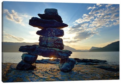 Canada, British Columbia, Russell Island. Rock Inukshuk in front of Salt Spring Island. Canvas Art Print