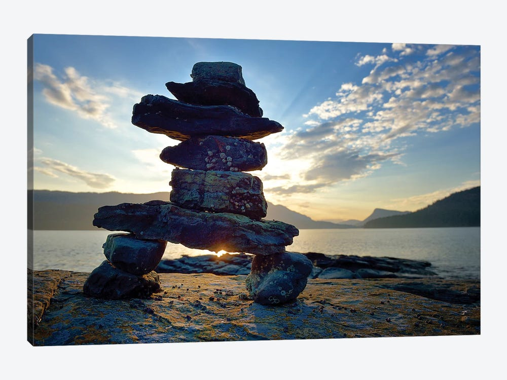 Canada, British Columbia, Russell Island. Rock Inukshuk in front of Salt Spring Island. by Kevin Oke 1-piece Art Print