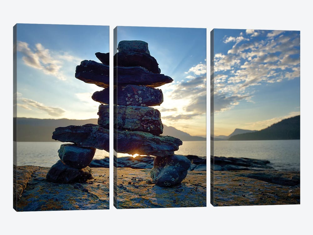 Canada, British Columbia, Russell Island. Rock Inukshuk in front of Salt Spring Island. by Kevin Oke 3-piece Art Print