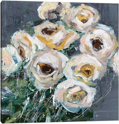 Roses On Gray Canvas Art Print
