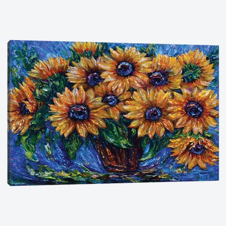 Sunflower Love with Palette Knife 3-Piece Canvas #OLE106} by OLena Art Canvas Print
