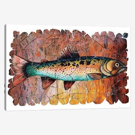 Vintage Red Trout Fresco Canvas Print #OLE113} by OLena Art Canvas Art Print