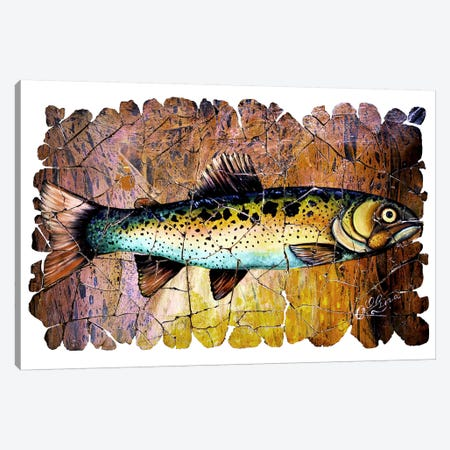 Red Trout Fresco  Canvas Print #OLE129} by OLena Art Canvas Art
