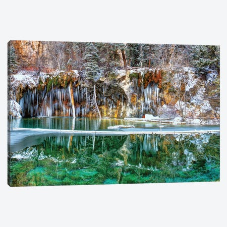 A Serene Chill - Hanging Lake Colorado Panorama Canvas Print #OLE137} by OLena Art Canvas Wall Art
