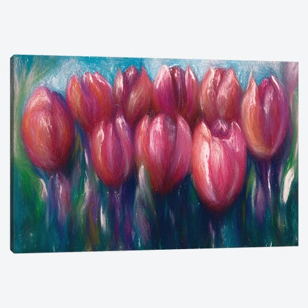 Colorful Abstract Tulips Canvas Print #OLE13} by OLena Art Canvas Artwork