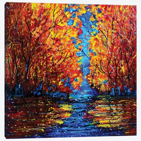 Autumn Trees at Twilight Canvas Print #OLE147} by OLena Art Art Print