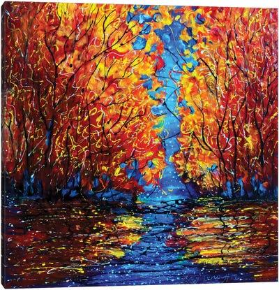Autumn Trees at Twilight Canvas Art Print