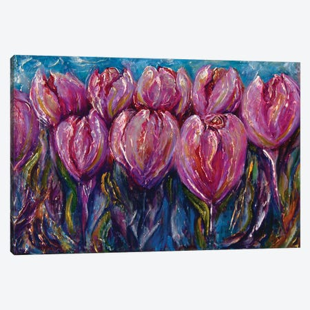 Colorful Impasto Tulips Canvas Print #OLE14} by OLena Art Canvas Print