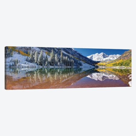 Fall Season At Maroon Bells Panoramic Image Canvas Print #OLE150} by OLena Art Canvas Print