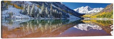 Fall Season At Maroon Bells Panoramic Image Canvas Art Print
