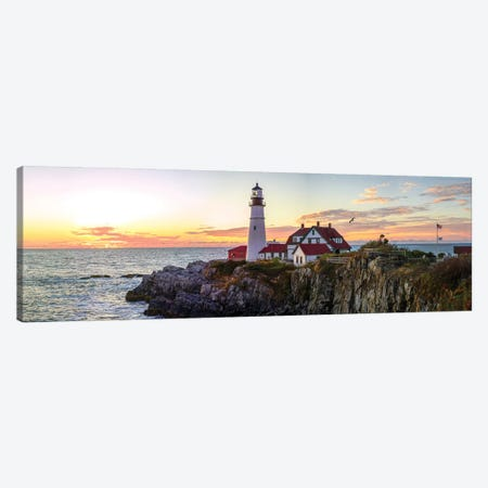 Portland Head Light Sunrise Canvas Print #OLE159} by OLena Art Canvas Print