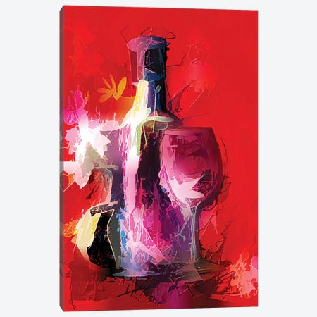 Colorful Wine Painting Canvas Print #OLE15} by OLena Art Canvas Print