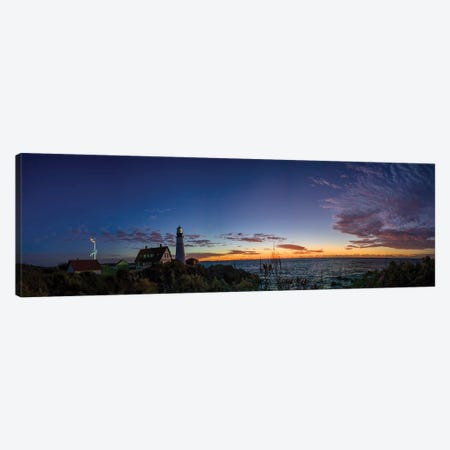 Portland Maine Head Light At Dawn Panorama Canvas Print #OLE162} by OLena Art Canvas Wall Art