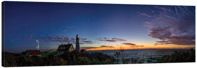 Portland Maine Head Light At Dawn Panorama Canvas Art Print