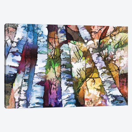 White Aspen And Birch Trees Canvas Print #OLE165} by OLena Art Art Print