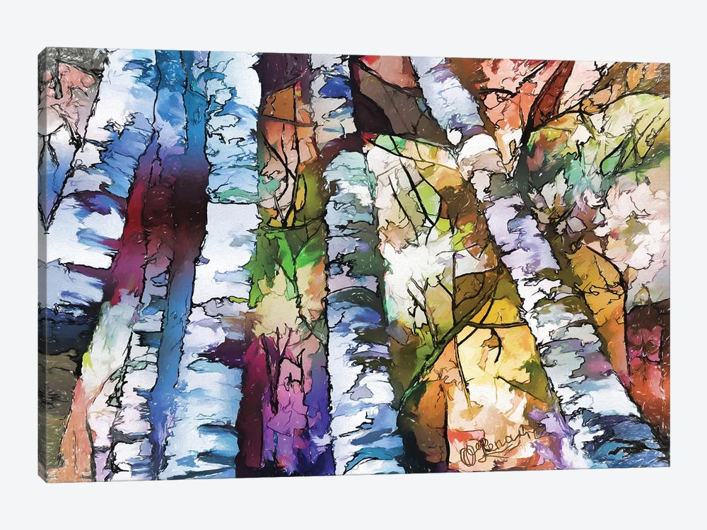 White Aspen And Birch Trees by OLena Art 1-piece Canvas Print