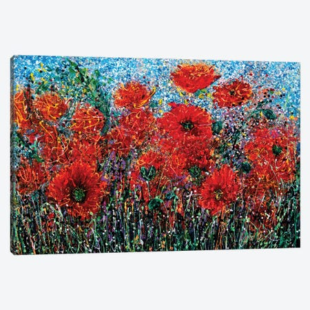 Wild Grass and Poppies Pollock Inspiration Canvas Print #OLE173} by OLena Art Art Print