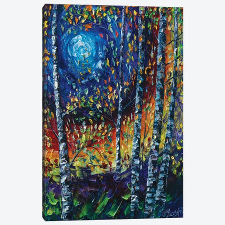 Moonlight Sonata With Aspen Trees Canvas Print #OLE180} by OLena Art Canvas Artwork