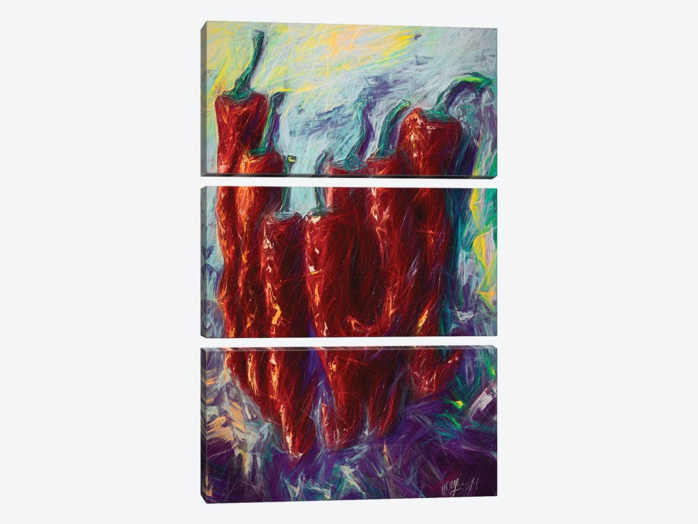 The Essence Of Jalapeno Abstract by OLena Art 3-piece Art Print