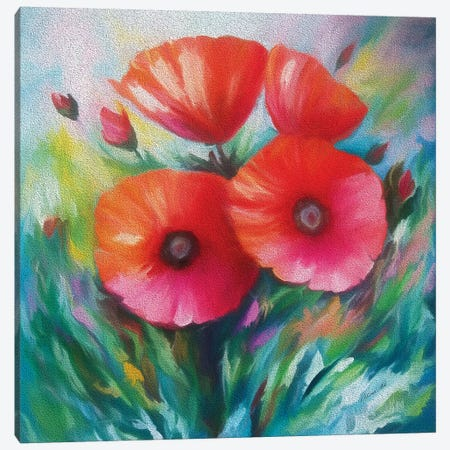 Expressionist Poppies Canvas Print #OLE19} by OLena Art Canvas Art