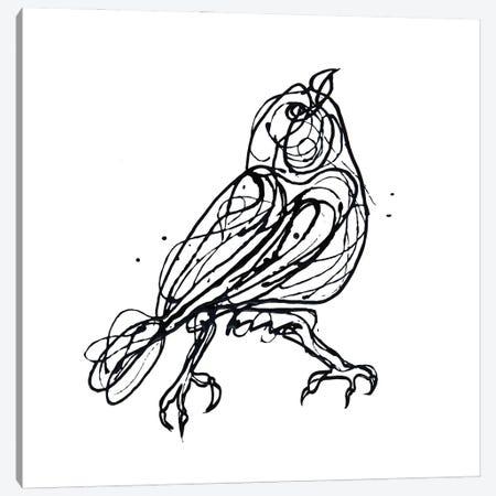 Chin Up - Cute Little Bird Jackson Pollock Style Drawing Canvas Print #OLE200} by OLena Art Art Print