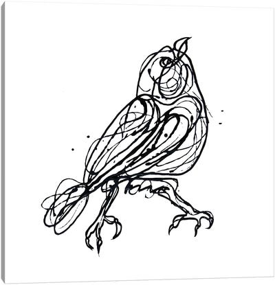 Chin Up - Cute Little Bird Jackson Pollock Style Drawing Canvas Art Print