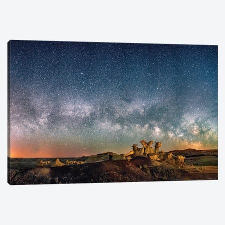 Bisti Badlands Hoodoos Under New Mexico Starry Night Canvas Print #OLE202} by OLena Art Canvas Art Print