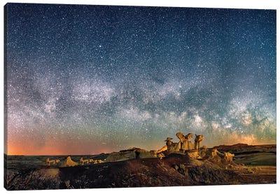 Bisti Badlands Hoodoos Under New Mexico Starry Night Canvas Art Print