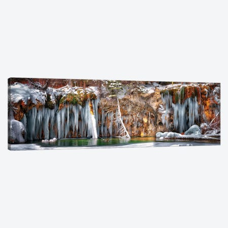 Hanging Lake Winter Panorama Canvas Print #OLE206} by OLena Art Canvas Art