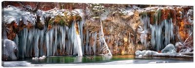 Hanging Lake Winter Panorama Canvas Art Print