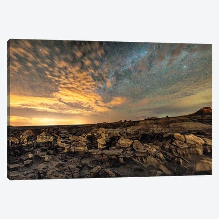 Bisti Badlands Hoodoos Under Bright New Mexico Starry Night Canvas Print #OLE208} by OLena Art Canvas Print