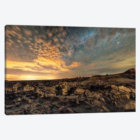 Bisti Badlands Hoodoos Under Bright New Mexico Starry Night Canvas Print #OLE208} by OLena Art Canvas Print