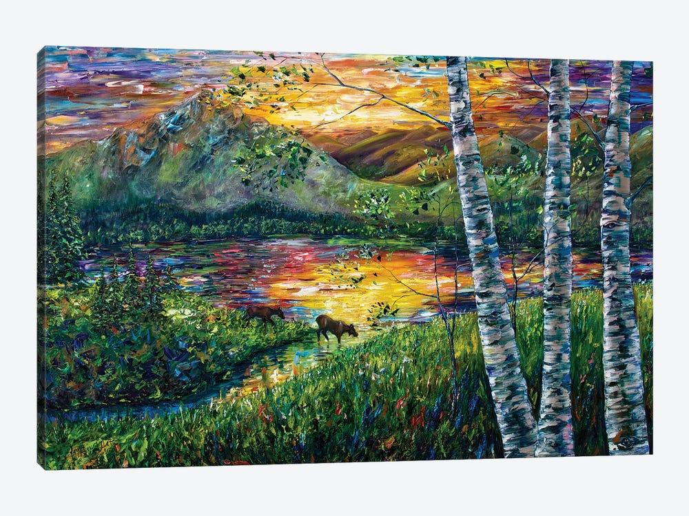 Sleeping Meadow - Colorado Moose Crossing by OLena Art 1-piece Canvas Art Print