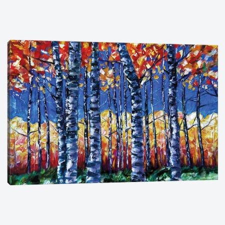 Aspen Trees  Autumn Canopy Painting Canvas Print #OLE219} by OLena Art Canvas Art