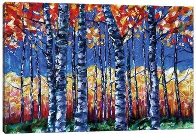 Aspen Trees  Autumn Canopy Painting Canvas Art Print