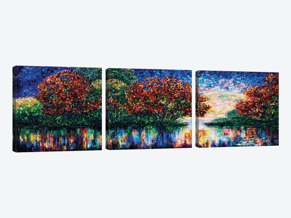 Rippled Sunset Palette Knife Painting by OLena Art 3-piece Canvas Artwork