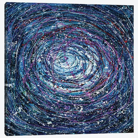 Star Trails Circular Abstract Pollock Inspired Painting Canvas Print #OLE231} by OLena Art Canvas Art