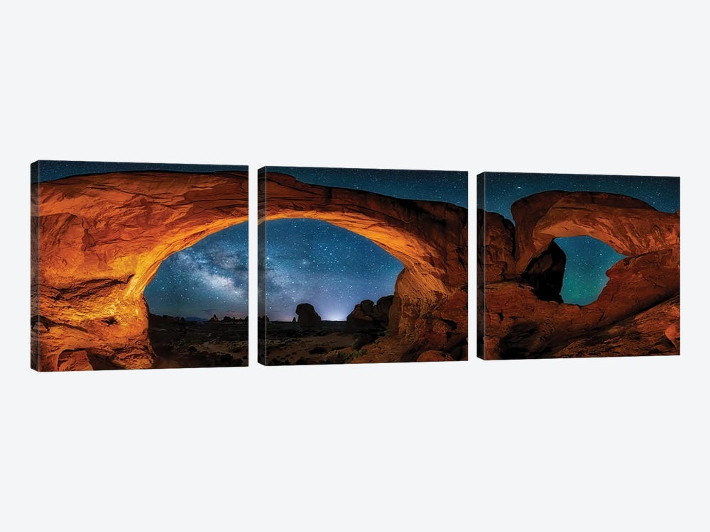Moab's Arches With Stars by OLena Art 3-piece Canvas Art
