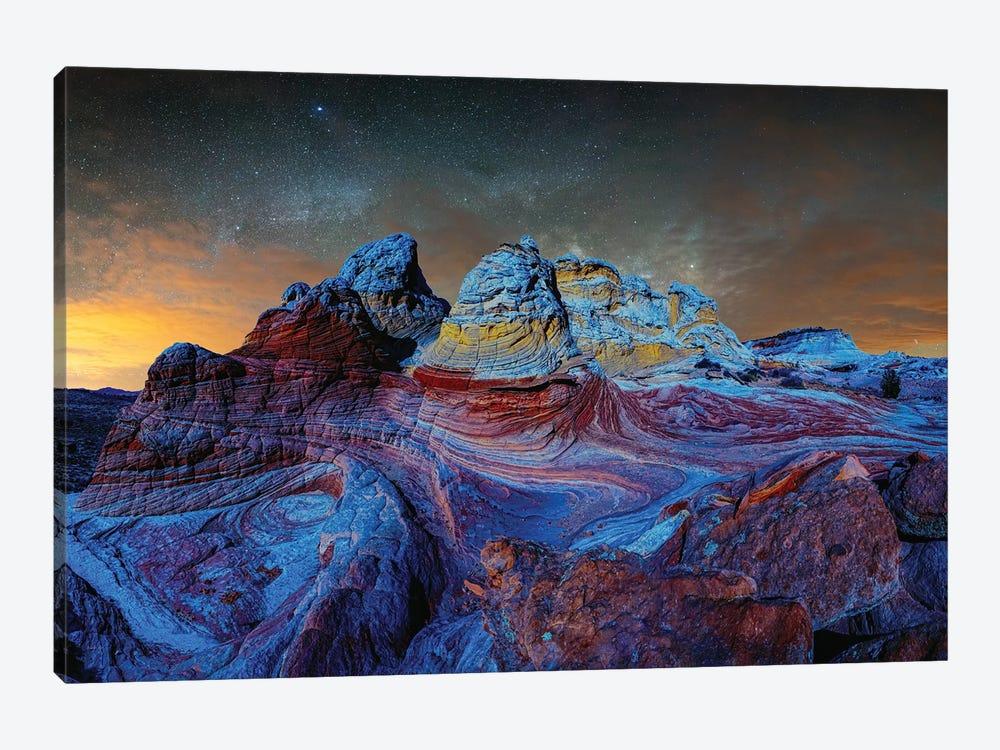 Deep Twilight At White Pocket Arizona by OLena Art 1-piece Canvas Print