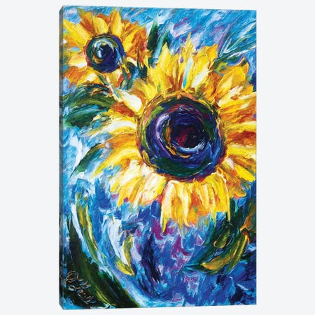 Impressionist Sunflower Painting Canvas Print #OLE29} by OLena Art Canvas Print