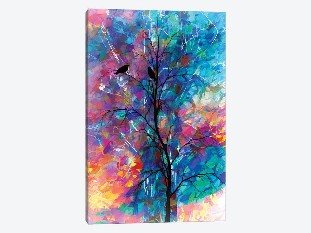Love Birds Abstract by OLena Art 1-piece Canvas Art Print