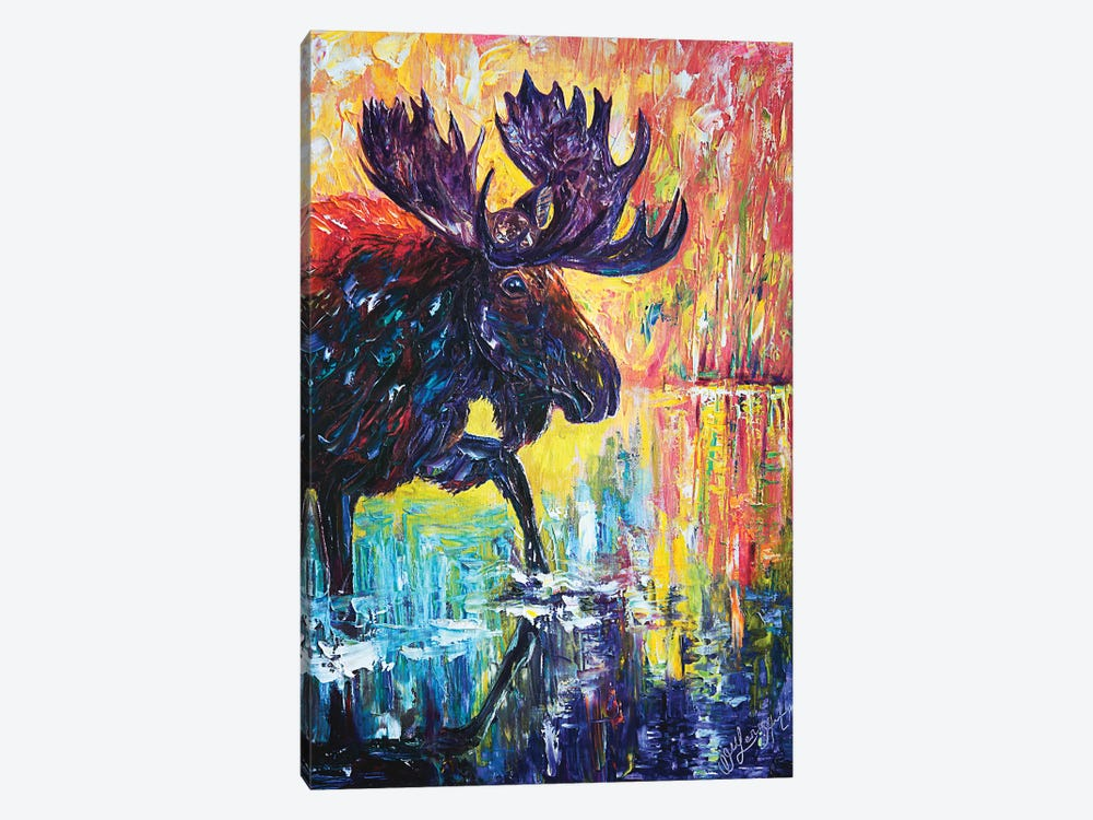 Moose by OLena Art 1-piece Canvas Wall Art