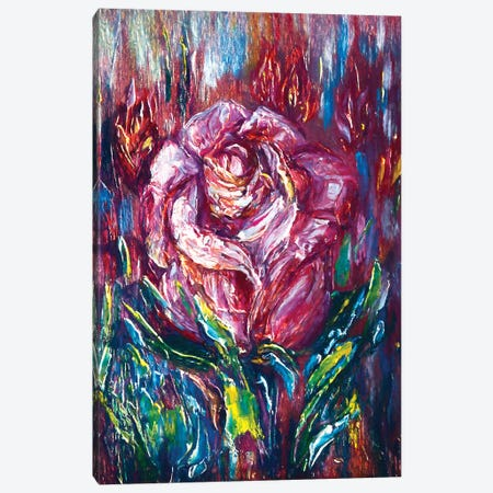 Oil Painting Pink Rose Canvas Print #OLE42} by OLena Art Canvas Art Print