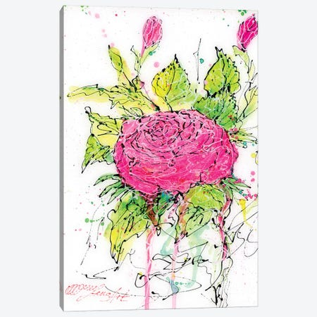 Pink Rose Watercolor Canvas Print #OLE44} by OLena Art Canvas Wall Art
